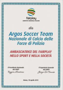 ARGOS Soccer TEAM - Ambasciatore del FairPlay