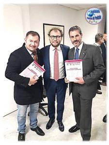 Presidenza del Consiglio dei Ministri, il Ministro dello Sport Luca Lotti con Gianluca Guerrisi e Fausto Zilli dell'Associazione ARGOS Forze di Polizia