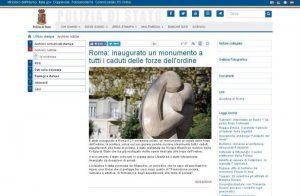 Il sito ufficiale della Polizia di Stato segnala inaugurazione monumento ai Caduti Forze di Polizia L'Abbraccio