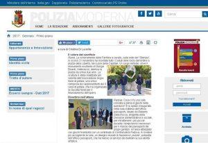 Il sito ufficiale di Polizia Moderna, rivista ufficiale della Polizia di Stato segnala il 2° anniversario monumento L'Abbraccio ARGOS