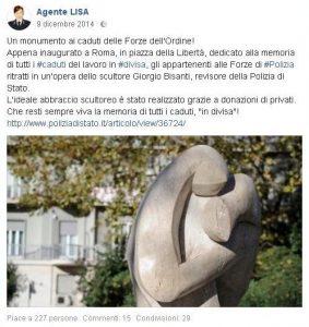 Monumento L'Abbraccio ARGOS segnala Agente Lisa Facebook Polizia di Stato