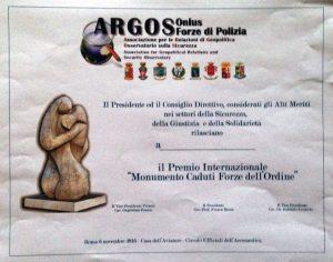 Distinzione di Merito per i partecipanti alla giornata in ricordo dei Caduti delle Forze dell'Ordine e del Soccorso organizzata dall'Associazione ARGOS