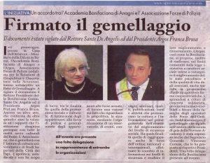 Siglato del gemellaggio tra l'Accademia Bonifaciana di Anagni e l'Associazione ARGOS Forze di Polizia