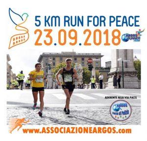 Run Peace Via Pacisdel 23 settembre 2018 - Adesione ARGOS Associazione Forze di POLIZIA