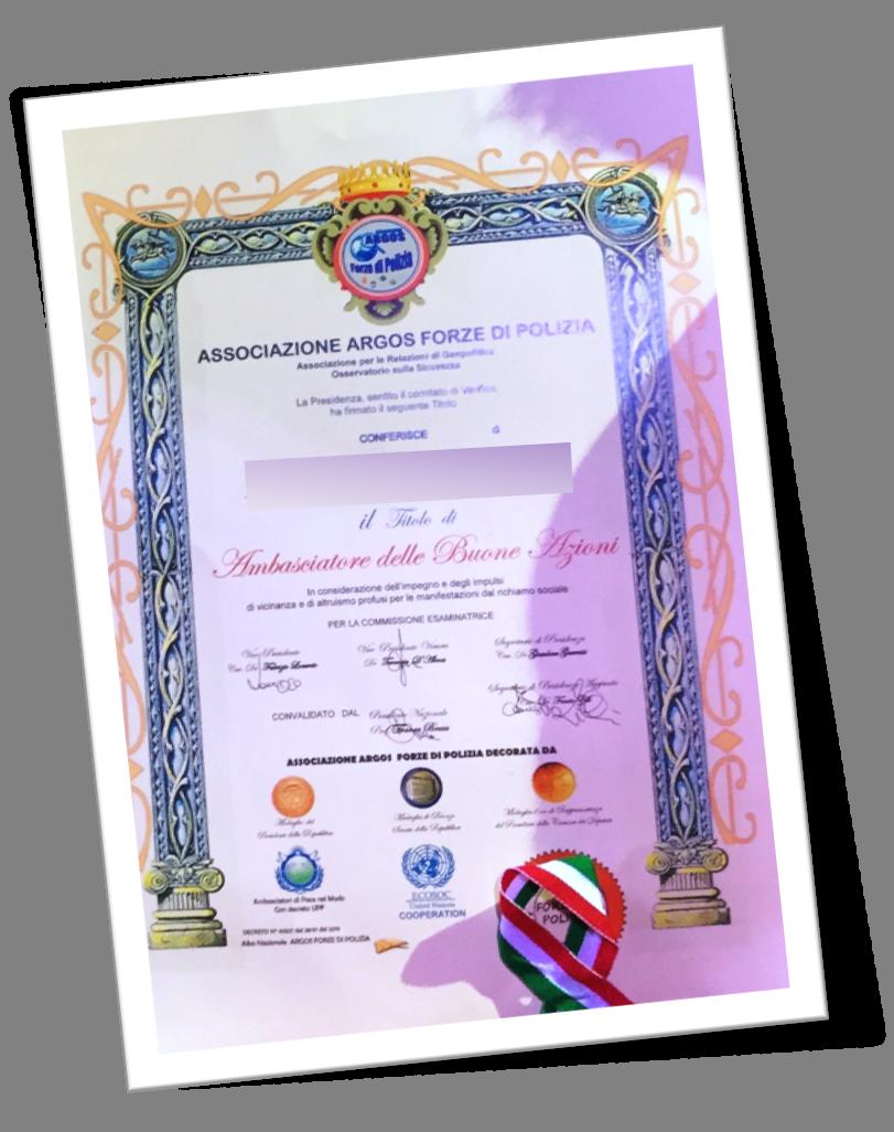 Diploma Ambasciatore delle Buone Azioni - ARGOS Forze di Polizia