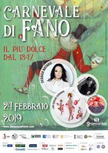 Manifesto del Carnevale di Fano 2019 relativo alla giornata del 24 Febbraio con la presenza ARGOS Associazione Forze di Polizia