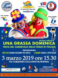 Il Manifesto della 10^ edizione di Una Grassa Domenica Festa del Carnevale delle Forze di Polizia - ARGOS