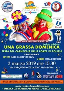 Il Manifesto della 10^ edizione di Una Grassa Domenica Festa del Carnevale delle Forze di Polizia - ARGOS -