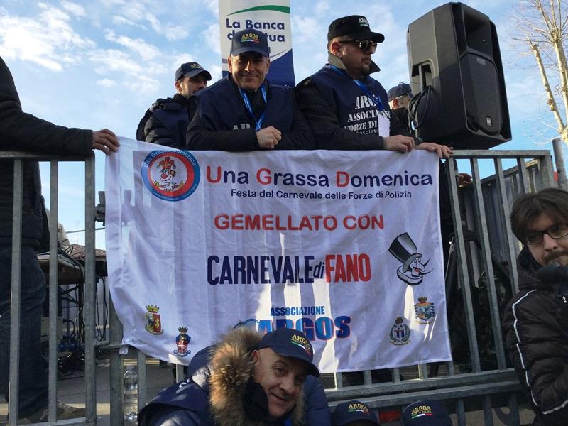 FANO - Pesaro Urbino - Marche. La delegazione ARGOS Associazione Forze di Polizia per il Gemellaggio con Una Grassa Domenica e Carnevale di Fano