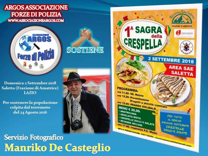 2018 Saletta (Amatrice/Rieti) - Evento Ricostruiamo Saletta 2018 adesione ARGOS per il sostegno delle popolazioni colpite dal terremoto