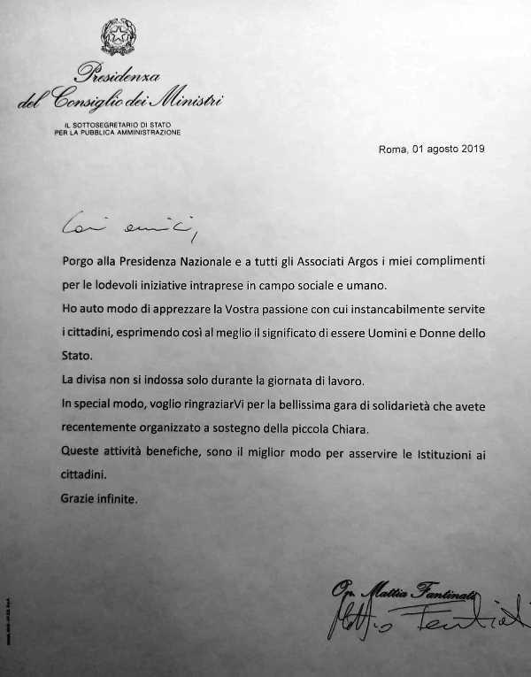 Lettera di apprezzamenti per le attività ARGOS Forze di POLIZIA a firma del Sottosegretario di Stato per la Pubblica Amministrazione On. Mattia Fantinati