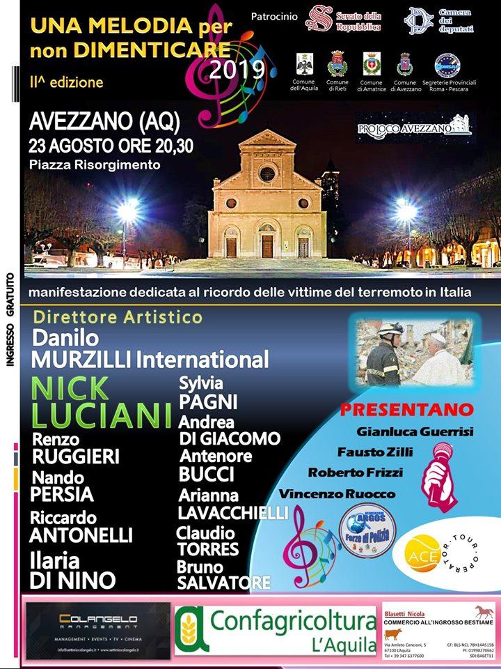 Una Melodia Per Non Dimenticare II^ edizione, venerdì 23 Agosto 2019 ore 20.30, Avezzano (Abruzzo)