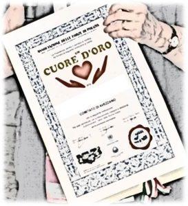 """Diploma di Merito """"un CUORE d'ORO"""""""