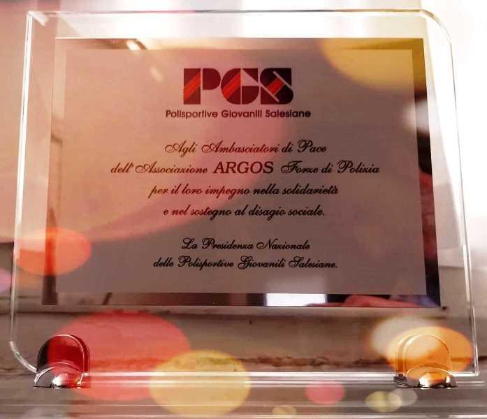 Premio Nazionale Solidarietà e Sostegno al Disagio Sociale per Associazione ARGOS Forze di POLIZIA