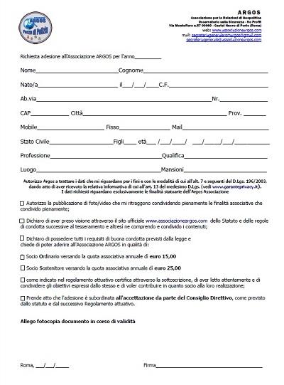 Modulo Adesione Argos Associazione Forze di Polizia - 2020