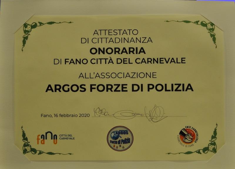 Attestato di Cittadinanza Onoraria FANO Città del Carnevale per ARGOS Associazione Forze di POLIZIA (2020)