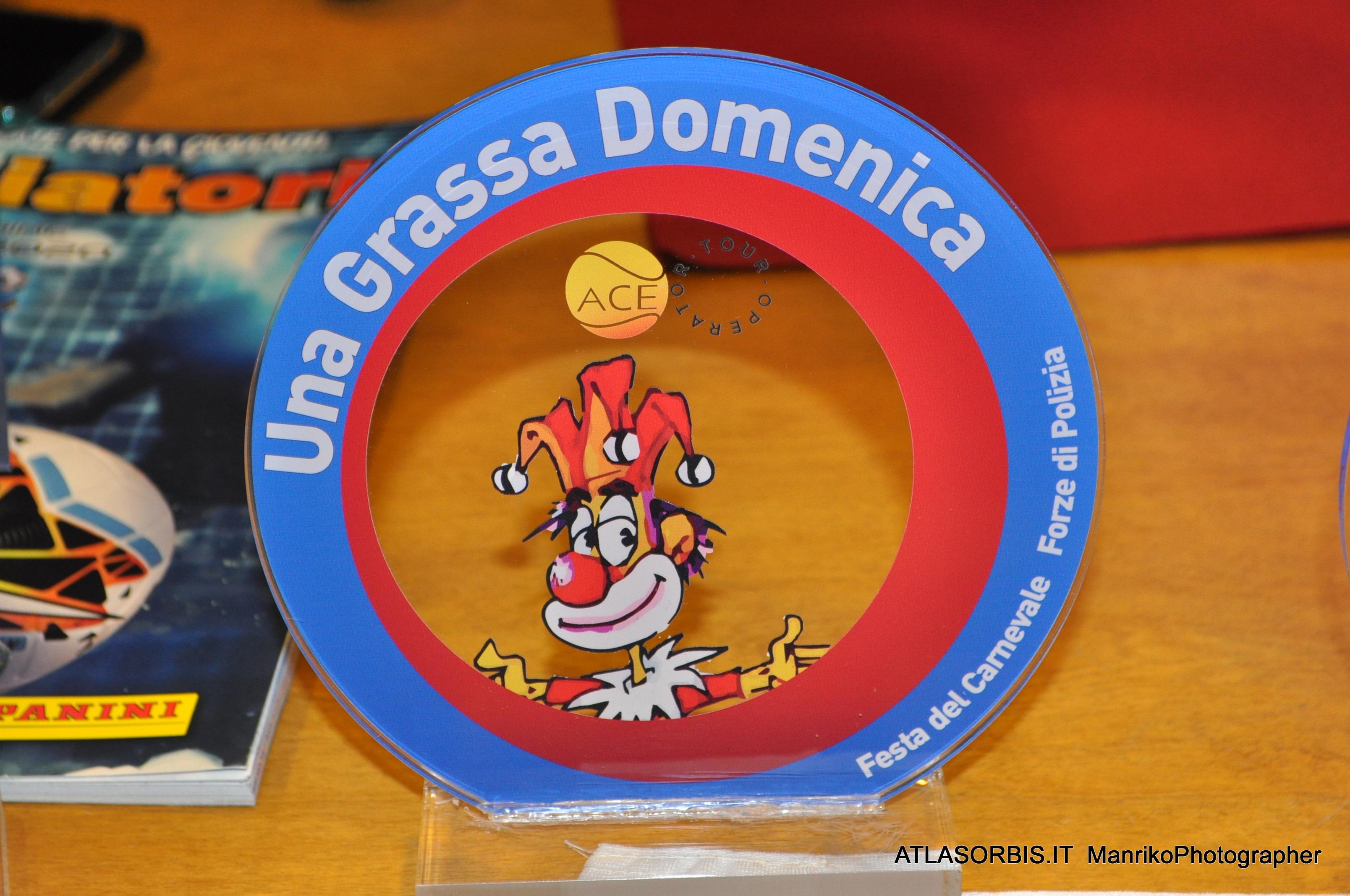 Targa in Vetro Una Grassa Domenica Festa del Carnevale delle Forze di Polizia ARGOS