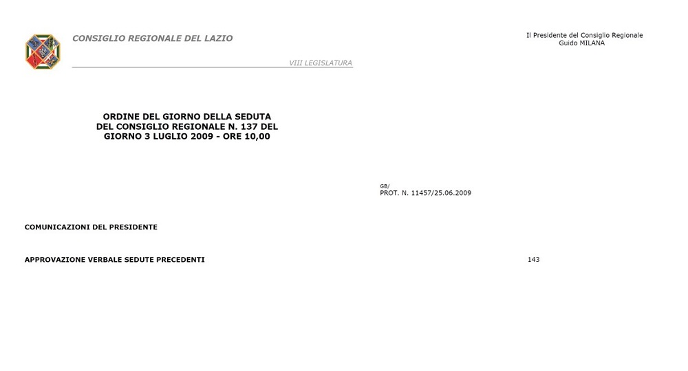 Proposta Legge Regionale Lazio Giornata Caduti Forze Ordine N. 484 del 27 Aprile 2009