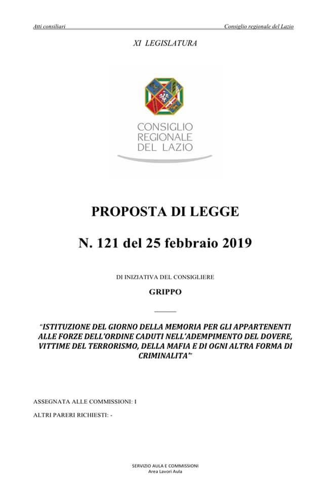 Proposta di Legge Regione Lazio per il giorno Memoria Caduti Forze dell'Ordine