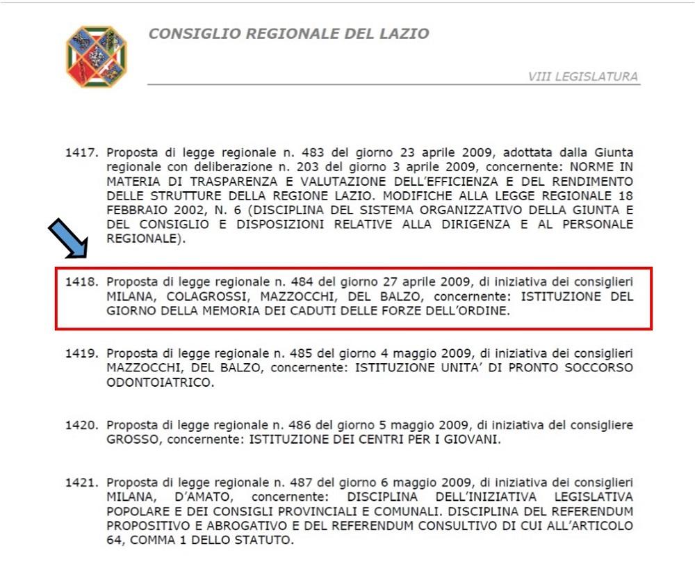 Proposta Legge Regionale Lazio Giornata Caduti Forze Ordine N. 484 dell'11 settembre 2009 presentata dal Cons. MILANA