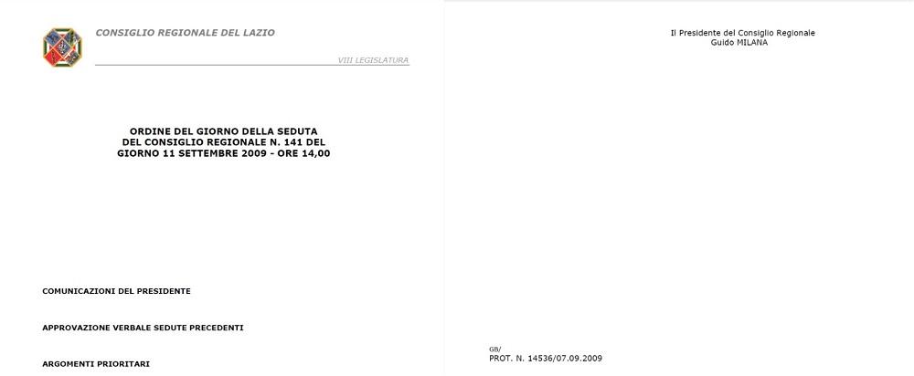 Proposta Legge Regionale Lazio Giornata Caduti Forze Ordine N. 141 dell' 11 settembre 2009