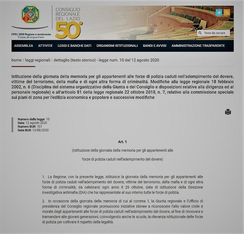 Regione Lazio - Istituzione della Giornata in ricordo delle Forze di Polizia