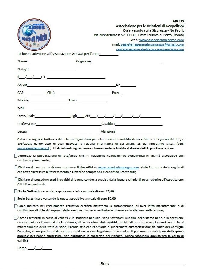 NUOVO MODULO ADESIONE ARGOS FORZE DI POLIZIA 2021