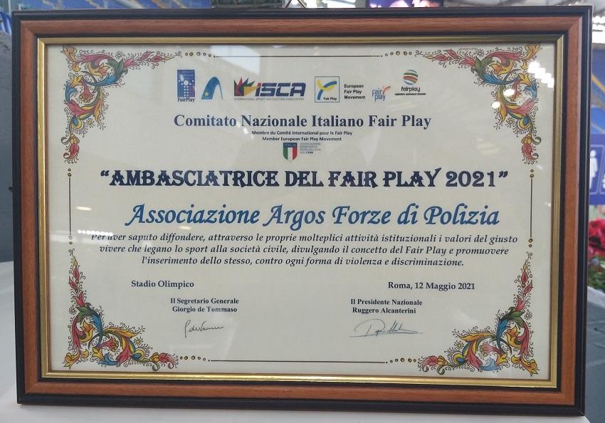 Ambasciatori del Fair Play ARGOS Associazione Forze di POLIZIA