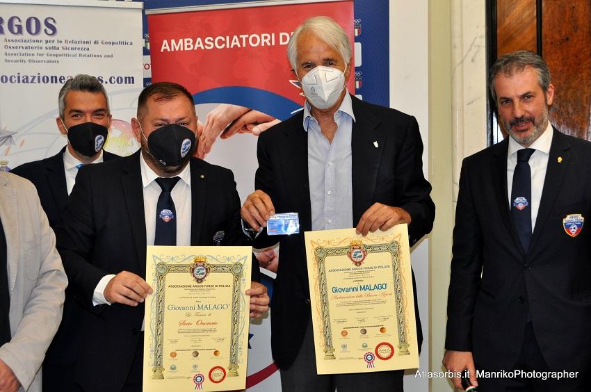 Giovanni MALAGO' Ambasciatore delle Buone Azioni e Socio Onorario ARGOS Forze di POLIZIA