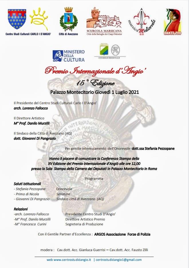 XV^ edizione Premio Internazionale Carlo D'Angiò, Conferenza Stampa Camera dei Deputati